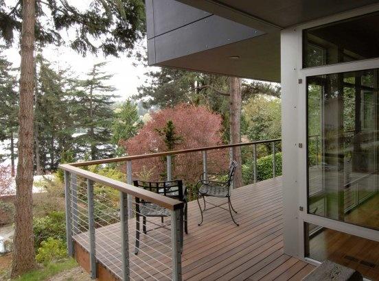 Railing detail fiber cement panels decking dream home for Concrete patio railing