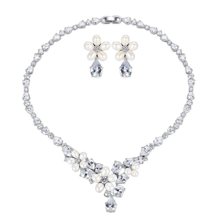 Rhinestone Flower Earrings & Necklace // Price: $57.95 & FREE Shipping Worldwide //  We accept PayPal and Credit Cards.    #dress