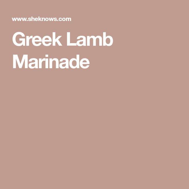 Greek Lamb Marinade