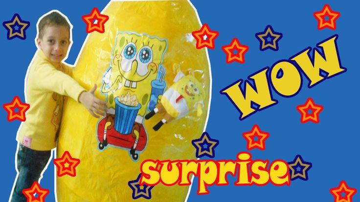 Supper giant Spongbob  surprise egg spongbob toys sets fun video for kids