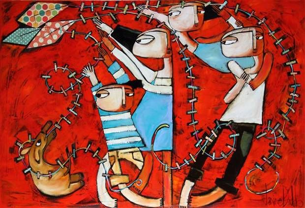 'Everyday a Sunday' by Janine Daddo  Mixed media on canvas 100 x150cm  From Manyung Gallery Group