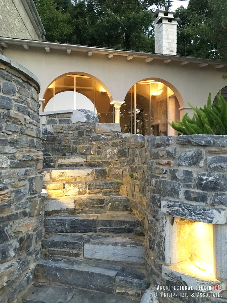 Details of a residential mansion _ landscaping | renovation | reuse | stone mansion | Pelion _ visit us at: www.philippitzis.gr