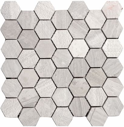 "White Oak Marble 2"" Hexagon Multi Finish Mosaic Tile ..."