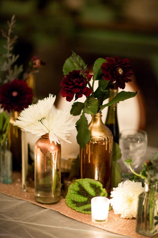 industrial vintage glam wedding Floral Design - A to Zinnias