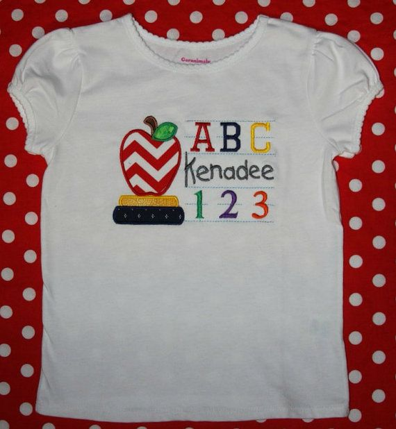 Custom appliqued apple school shirt by BoutiqfullyYours on Etsy