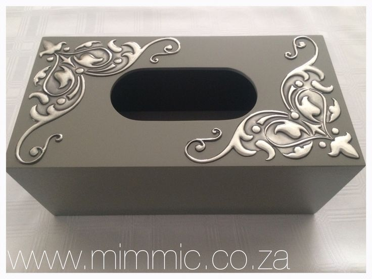 Tissue box by Yvonne Botha from Mimmic Gallery and Studio. Tissue box and stencil available online from www.mimmic.co.za , like us on Facebook at www.fb.com/mimmicgalleryandstudio
