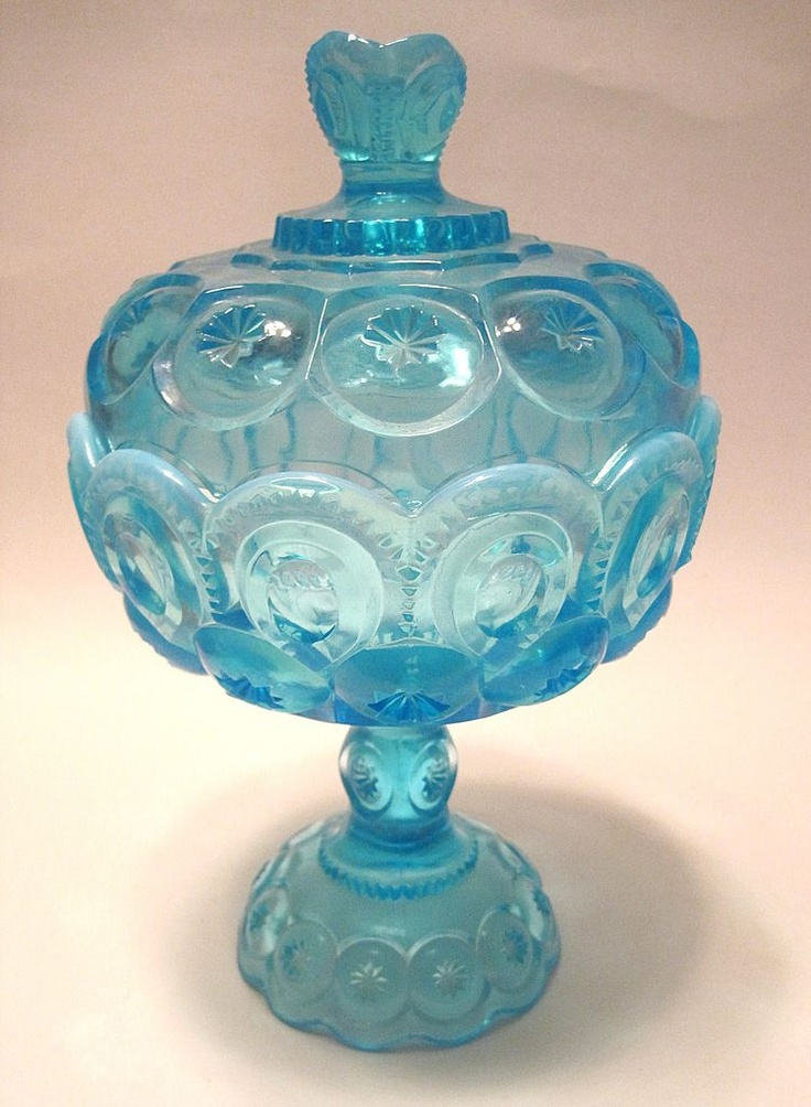Opalescent blue covered compote. #bowl #glass #blue #decor #vintage #antique