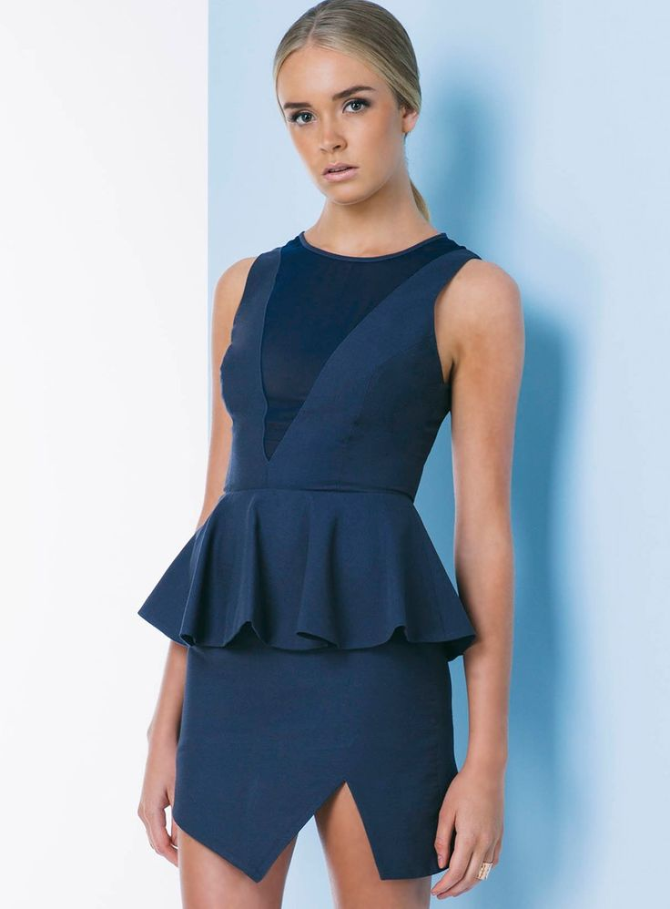 Keepsake First In Line Dress. The First in Line Dress by Keepsake is a stunning peplum dress. Features a high neckline and a sheer V-...