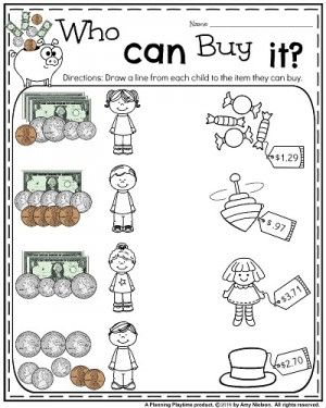 Money Worksheets for 2nd Grade - Who Can Buy It
