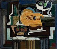 Zátiší s lahví Chianti (Zátiší s kytarou a ovocem), 1924