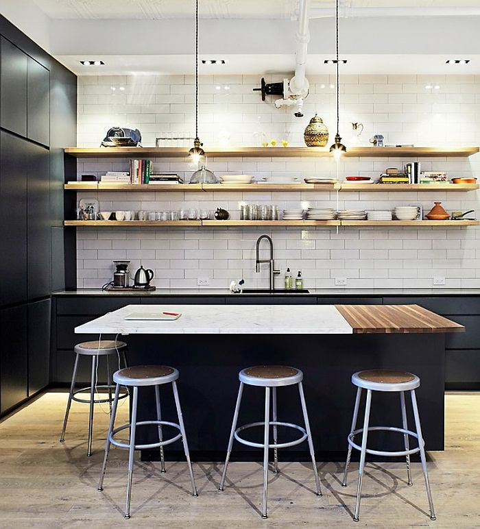 Metal Black Kitchen Cabinets: Subway Tiles + Black Cabinets + Open Wood Plank Shelving