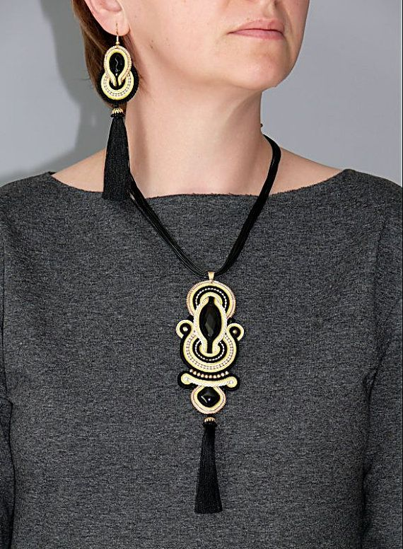 Black gold ecru Soutache necklace with Onyx. от ANBijou на Etsy