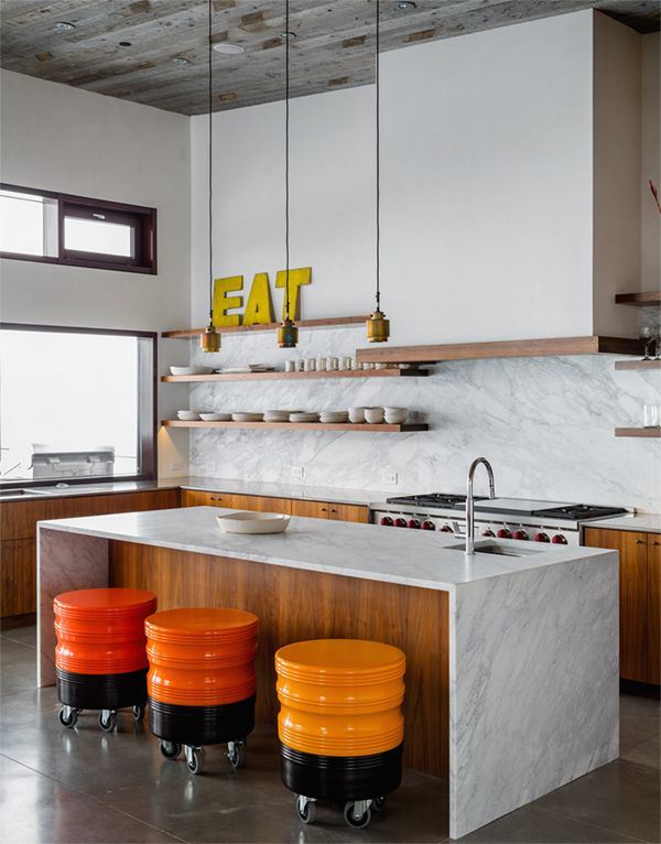 Check out this awesome modern kitchen design! | modern mountain house kitchen with marble and wood | coco+ kelley
