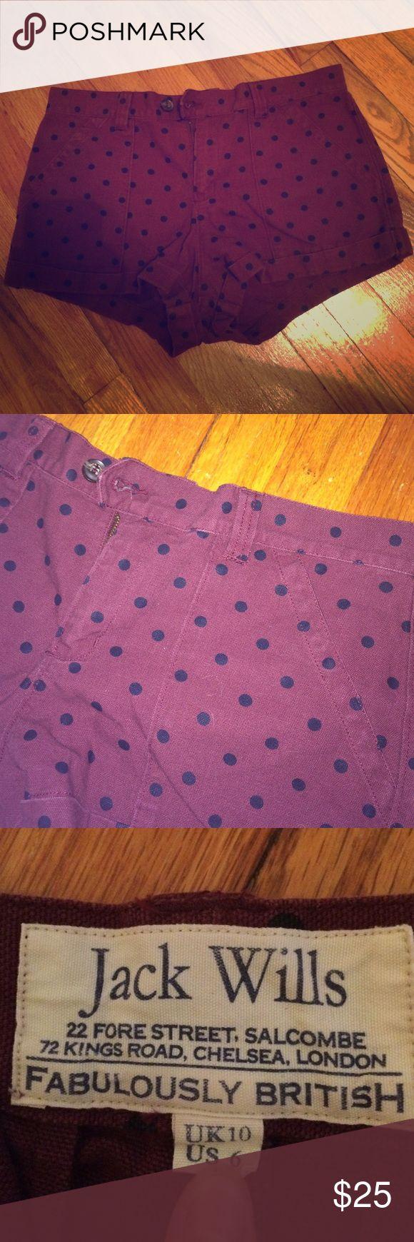 Jack Wills shorts Burgundy with black polka dots jack wills shorts Jack Wills Shorts
