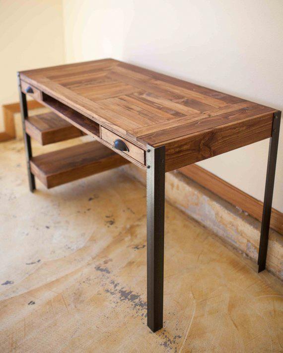 pallet wood desk with 2 drawers center shelf and 2 lower shelves in rh pinterest com
