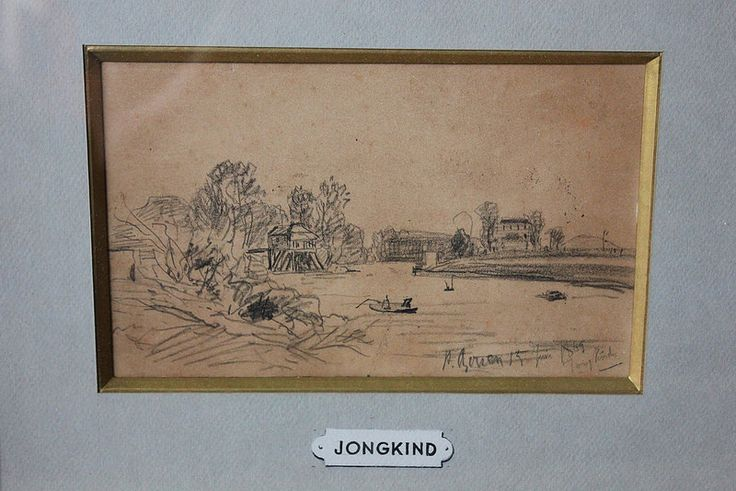 """Johan-Barthold JongKind (1819-1891) Bâteaux sur une rivière, Rouen, 1865. Crayon sur papier Signé, situé et daté """"A Rouen 15 juin 1865"""" en bas à droite 13x20 cm"""