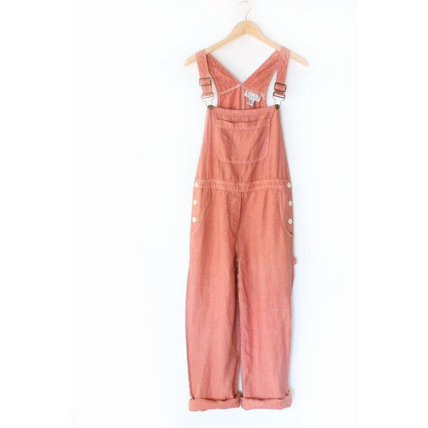 80s Dusty Pink Painters Overalls Vintage Linen Pink Bib Overall Pants ($36) ❤ liked on Polyvore featuring jumpsuits, dresses, overalls, pants, bottoms, pink bib overalls, bib overalls, vintage overalls, summer jumpsuits and vintage jumpsuit