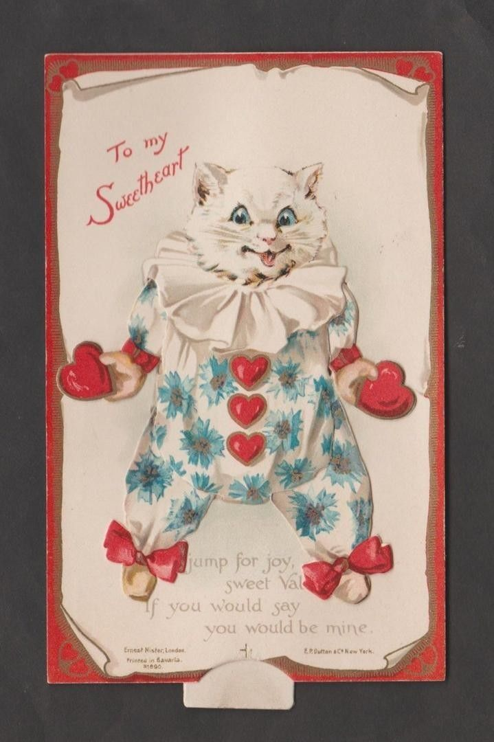 Vintage mechanical Valentine postcard of a cat dressed in a clown suit. The tab pulls down and the cat's arms and legs move. Published by Ernest Nister, Series 890. Card is near-mint and in excellent