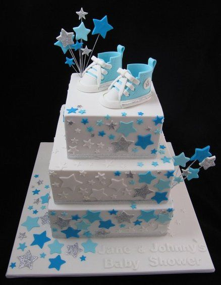 Baby Boy Shower Cake - YES! The stars! The colors, the patterns! Now to translate that onto a non tiered cake...