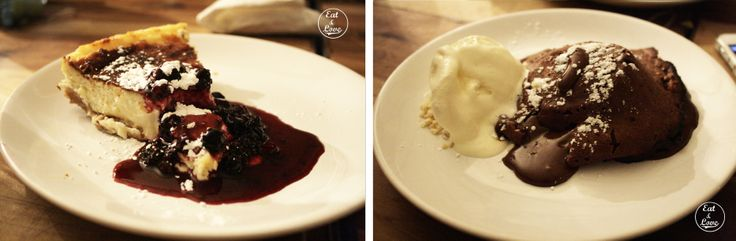 volcán de chocolate y cheesecake, Blanca 6 restaurante Madrid