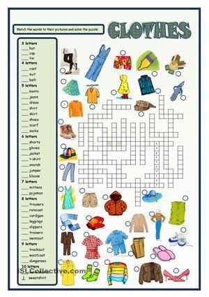Clothes crossword - ESL worksheets