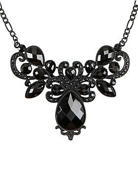Timeless. Beautiful. Black. // Blackheart Black Gem Filigree Statement Necklace