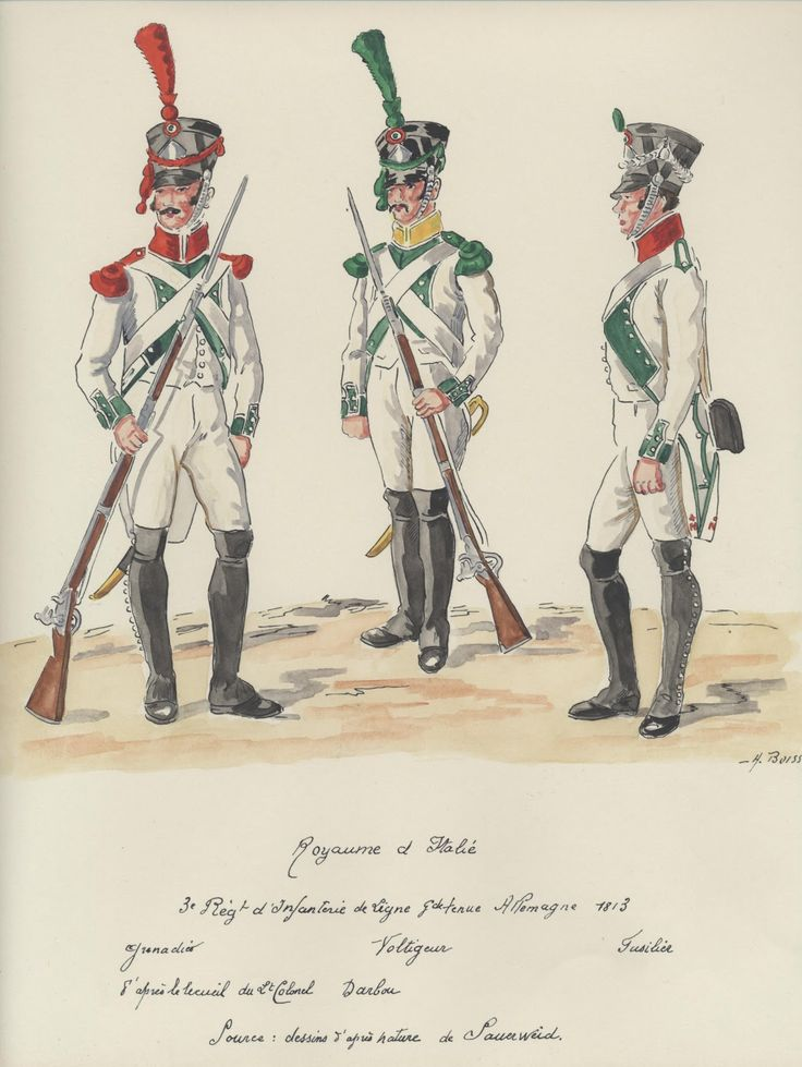 Italy; 3rd Line Infantry, Grande Tenue in Germany 1813. L to R Grenadier, Voltigeur & Fusilier