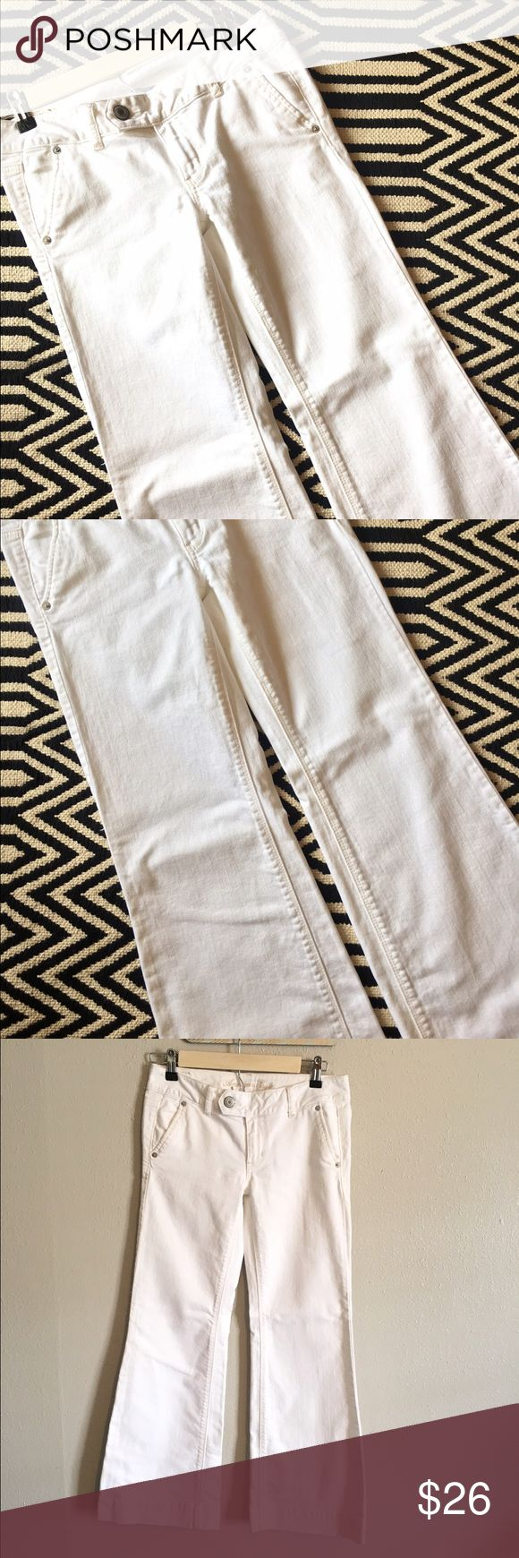 American Eagle Outfitters white denim trousers Excellent condition. American Eagle Outfitters white denim Trousers. Size 2 short. 98% cotton, 2% spandex. Measurements pictured. American Eagle Outfitters Pants Trousers