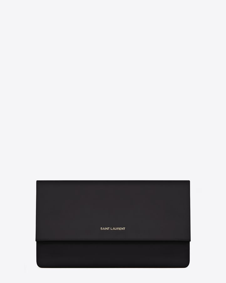 Saint Laurent Letters Clutch In Black Leather | ysl.com