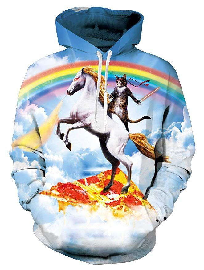 Fashion Men Plus Size 3D Teenage Girl Print Pullover Tops Long Sleeve Hooded Drawstring Sweatshirt with Pocket