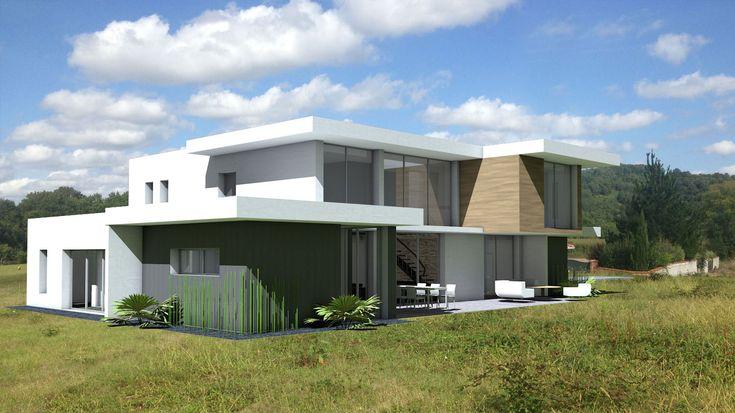 Villa d'architecte à emboitement de cubes et bardages - Atelier d'architecture Scénario