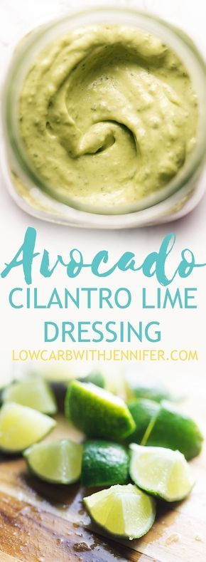 This super easy avocado cilantro lime dressing takes less than 5 minutes in your food processor or blender. You will want to put it on all the things! #avocadodressing #lowcarbdressing #lowcarbspread