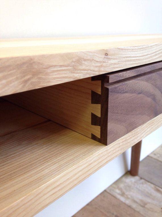 midcentury modern desk handmade in solid ash and walnut wood rh pinterest com