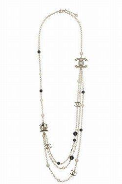 Sautoir Chanel - Sautoir métal, perles de verre et résine Chanel - Bijoux marques de mode - bijoux créateurs mode