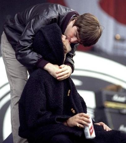 Noel and Liam Gallagher. A very rare moment when they weren't fighting. Lol.