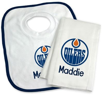 9 best edmonton oilers baby gifts images on pinterest baby gifts our officially licensed personalized edmonton oilers bib and burp cloth set is an excellent gift for negle Image collections