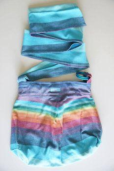 paxbaby, Slingyroo, double rainbow, rr, azul, single, double strap, woven wrap conversion bag, wrap bag, babywearing