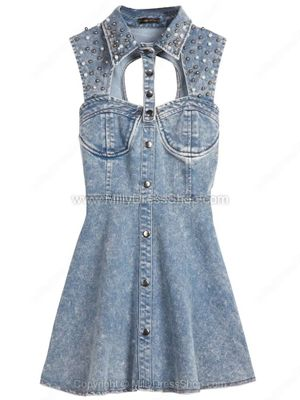 Blue Sleeveless Sequined Hollow Backless Denim Dress