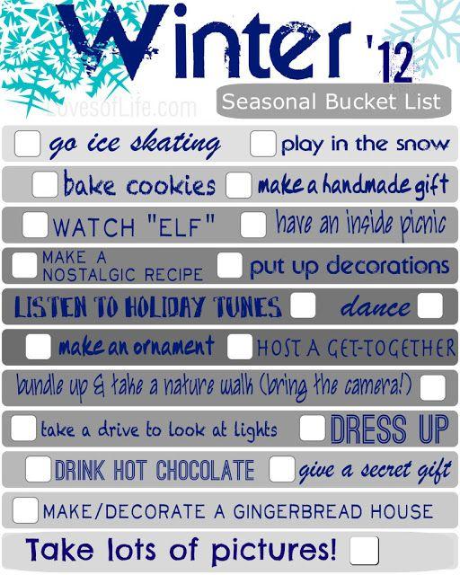 Loves of Life: Winter Bucket List Printable for 2012