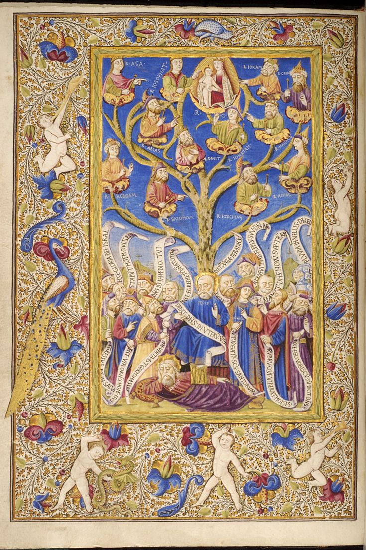 Pretty medieval manuscript of the dayis a tree of Jesse. An incredibly detailed late medieval/early Renaissance depiction of the genealogy of Christ, it is remarkable for its rich colours and lavish illustration. It originates from Naples circa 1480.  Image source:Walters Museum 330.Creative Commons licensed.