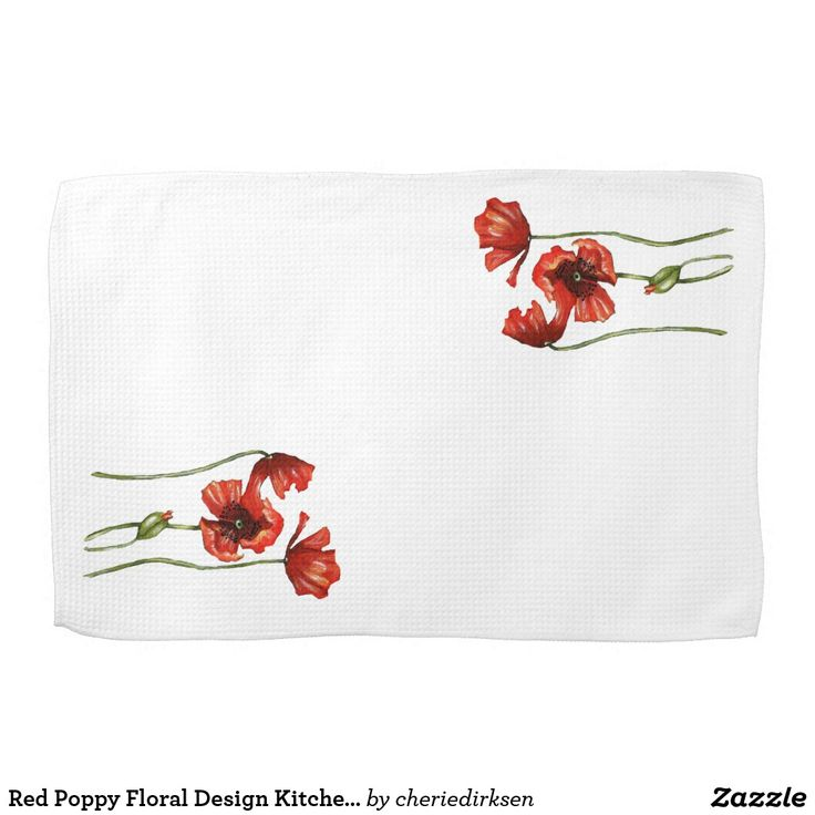 20% off this#BlackFriday2017 --- Red Poppy Floral Design Kitchen Towels  #Thanksgiving