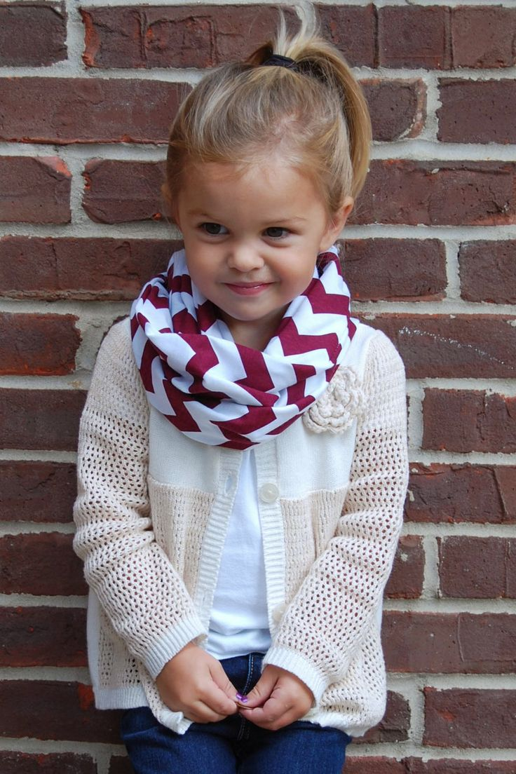 I foresee this will be Gia! For a little aggie girl!  chevron infinity scarf.