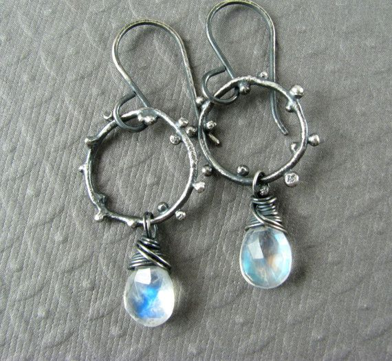 Rainbow Moonstone and Oxidized Sterling by JessicaCoxJewelry, $65.00