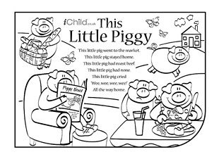 This Little Piggy nursery rhyme lyrics. Find lots more at iChild.co.uk