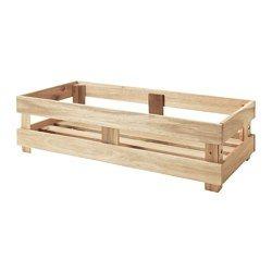 IKEA - SKOGSTA, Box, Stabil, robust und daher gut geeignet für Flaschen, Dosen, Einmachgläser.Platz sparend, da 2 Stück aufeinandergestapelt werden können.Massivholz ist ein strapazierfähiges Naturmaterial.
