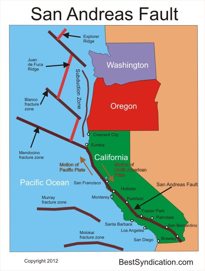 San Andreas Fault  San Andreas Fault Line Map Image