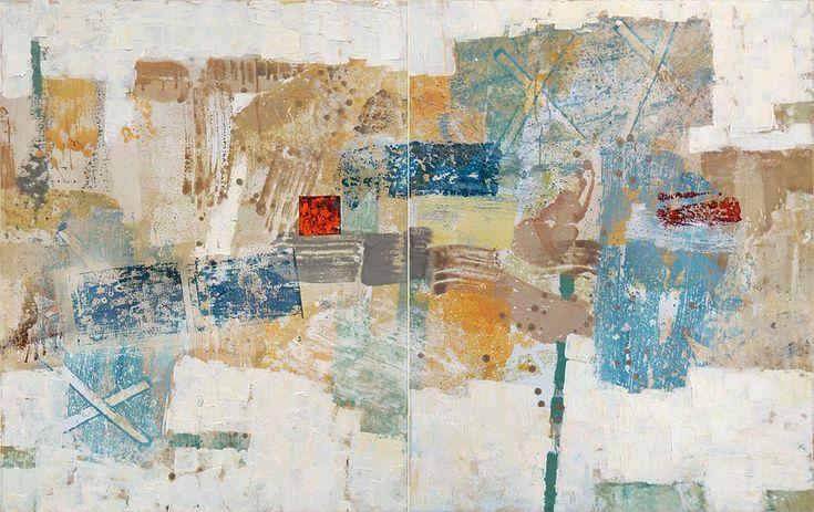 Russian Artists New Wave Painting - April. Diptych by Olga Shagina  #RussianArtistsNewWave #OlgaShagina #AbstractArt #ArtForHome #InteriorDesign #OriginalPintingForSale #OriginalPainting #ArtForSale