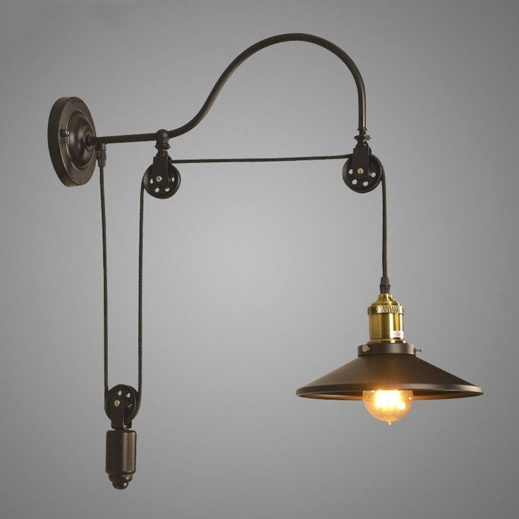Industrial Wall Mounted Gooseneck Light Fixture Pulley Reflector