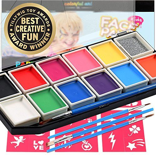 Award Winning Face Paint Kit For Kids | Professional 12 Color Mega Palette | Best Body Face Painting Kits | 3 Brushes Glitter 30 Stencils Durable Case | Fda Compliant Non Toxic | Bonus Online Guide
