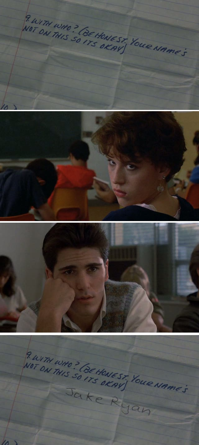 Sixteen Candles (1984)- I've had this happen and it literally makes your heart stop